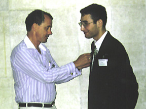 David Markham gives the INS Eagle to Alexander Mikaberidze, President of the Napoleonic Society of Georgia (Europe)