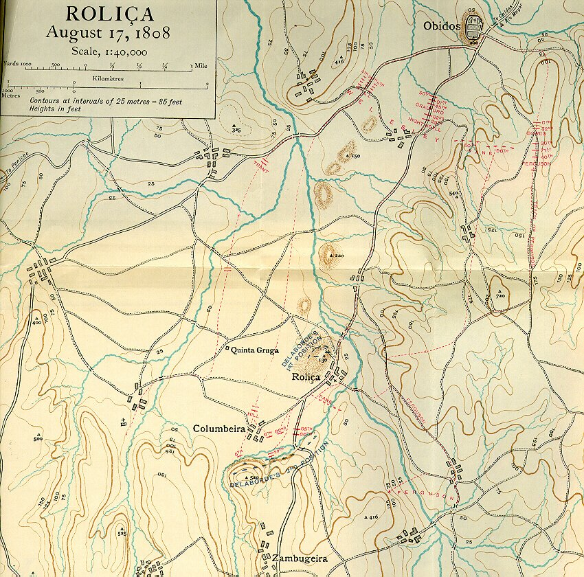 The Peninsular War The Battle Of Roliça Rolica Th August - Portugal map obidos