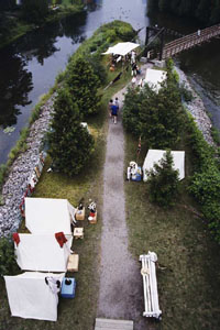 Annual War of 1812 encampment on <i>Nancy</i> Island