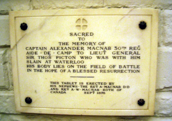 Tablet in St. Paul's Cathederal in honor of Alexander Mcnab